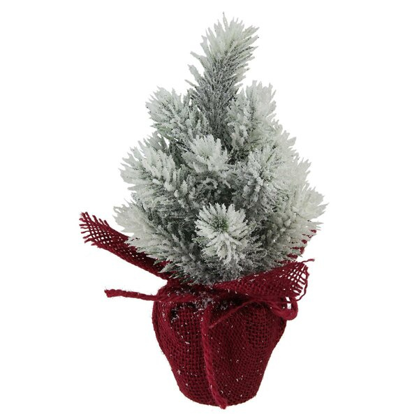 8.5 Silver Pine Artificial Christmas Tree in Burlap Covered Vase by The Holiday Aisle