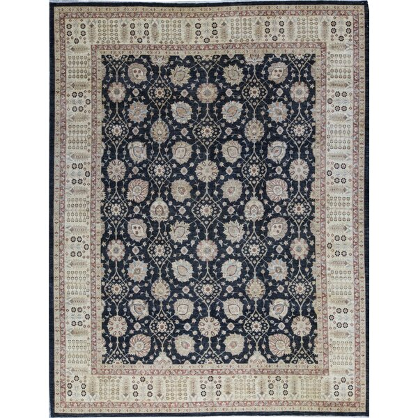 Ziegler Oriental Hand-Knotted Wool Black/Beige Rug
