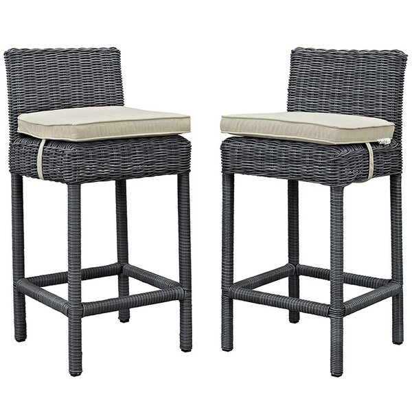 Keiran 28 Patio Bar Stool with Cushion (Set of 4) by Brayden Studio