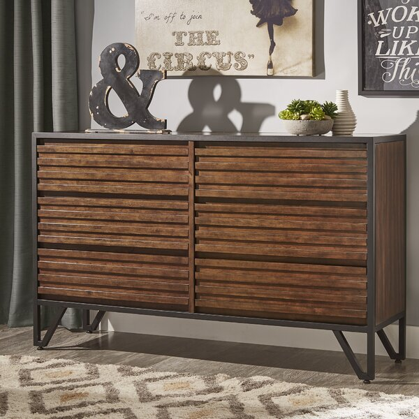 Bourdon Stacked Wood 6 Drawer Double dresser with Mirror by Mercury Row
