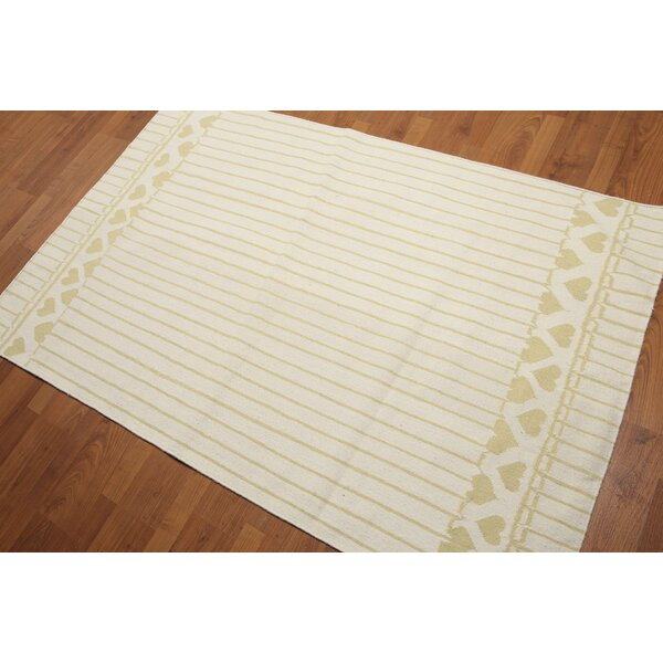 One-of-a-Kind Gofried Dhurry Reversible Hand-Woven Ivory Area Rug by Astoria Grand