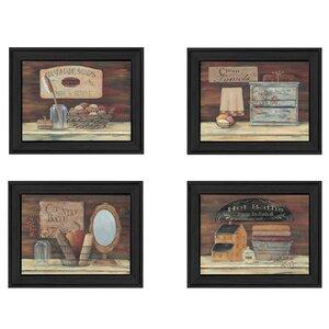 'Bathroom I' 4 Piece Framed Graphic Art Print Set by Trendy Decor 4U
