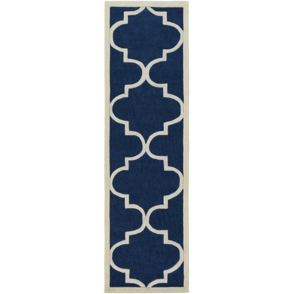 Daubert Hand-Tufted Navy/Ivory Area Rug by Breakwater Bay