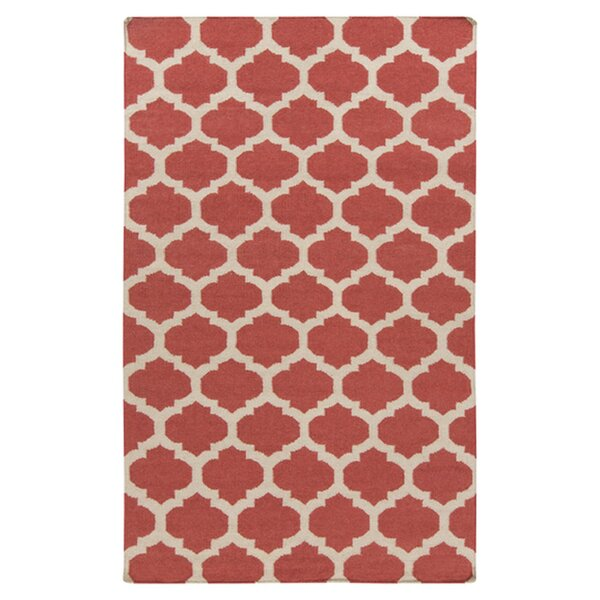 Hackbarth Hand-Woven Wool Red/White Area Rug by Zoomie Kids