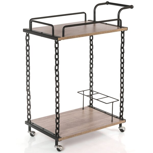 Lange 2-Tier Bar Cart Rolling Kitchen Server by 17 Stories