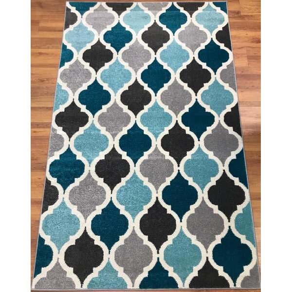 Abreu Rainbow Kimberley Diamond Gray/Blue Runner Rug by Wrought Studio