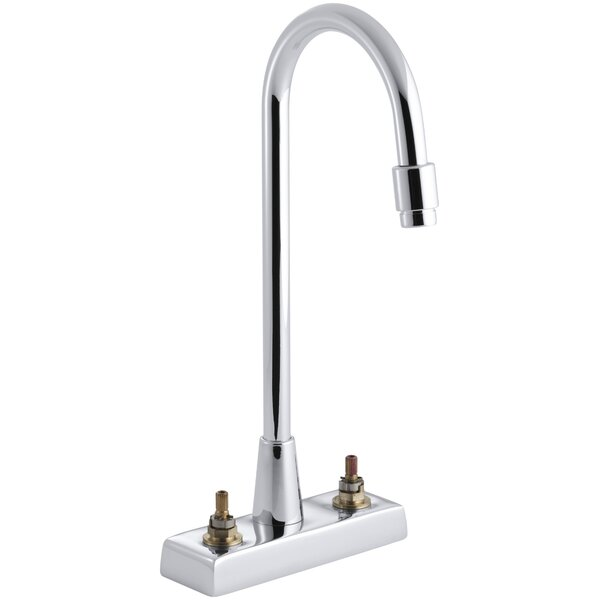 Triton Centerset Commercial Bathroom Sink Faucet With Gooseneck Spout And Vandal-Resistant Aerator Requires Handles Drain Not Included By Kohler
