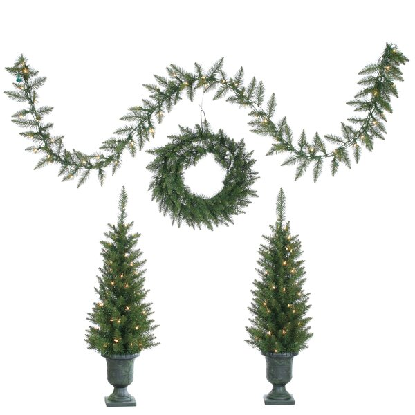 4 Piece Green Pine Artificial Christmas Tree Set with 150 Clear Lights with Potted Stand by Sterling Inc.