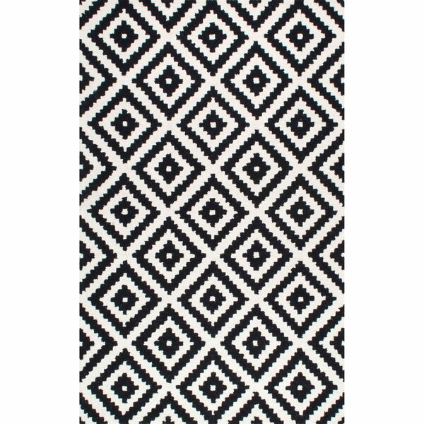 Obadiah Hand-Tufted Wool Black Area Rug by Mercury Row