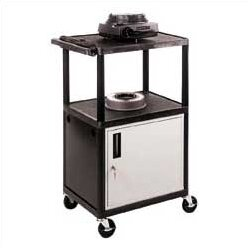High Low Priced Open Shelf Table AV Cart with Locking Cabinet/Big Wheels by Luxor
