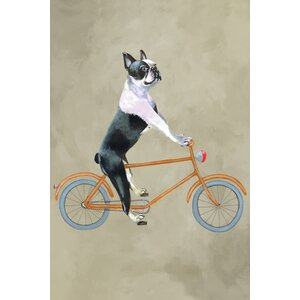 'Boston Terrier on Bicycle' Painting Print on Canvas by East Urban Home