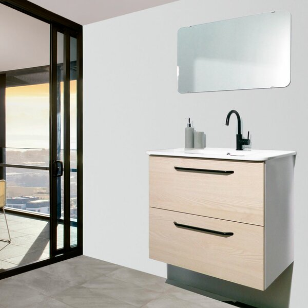 Auten Modern 24 Wall-Mounted Single Bathroom Vanity Set With Mirror By Wrought Studio.