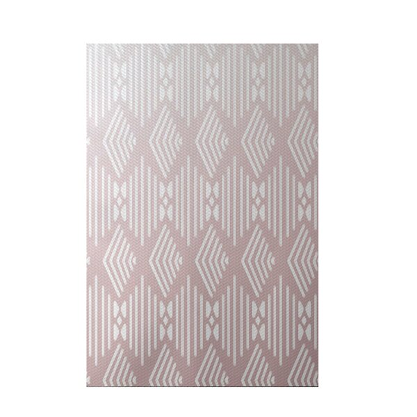 Fishbones Geometric Print Blush Indoor/Outdoor Area Rug by e by design