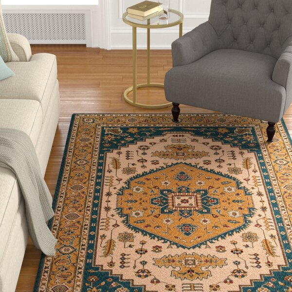 Forrestal Blue/Orange Area Rug by Astoria Grand