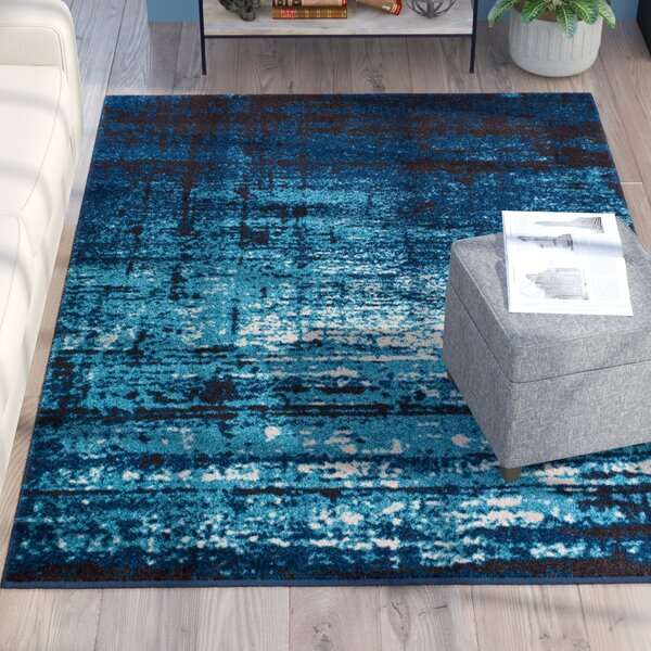 Coolidge Modern Distressed Navy Blue Area Rug by Trent Austin Design