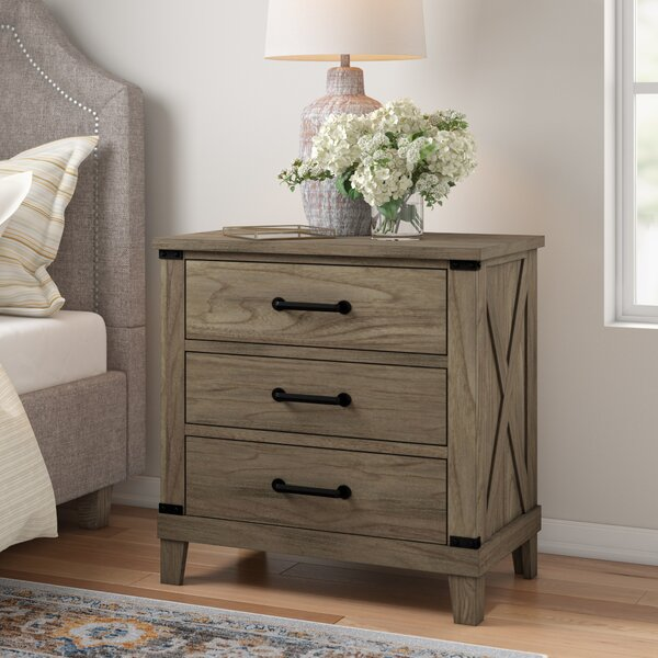 Brodnax 3 Drawer Nightstand by Three Posts