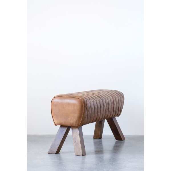 Karlie Stitched Leather Bench by Bungalow Rose