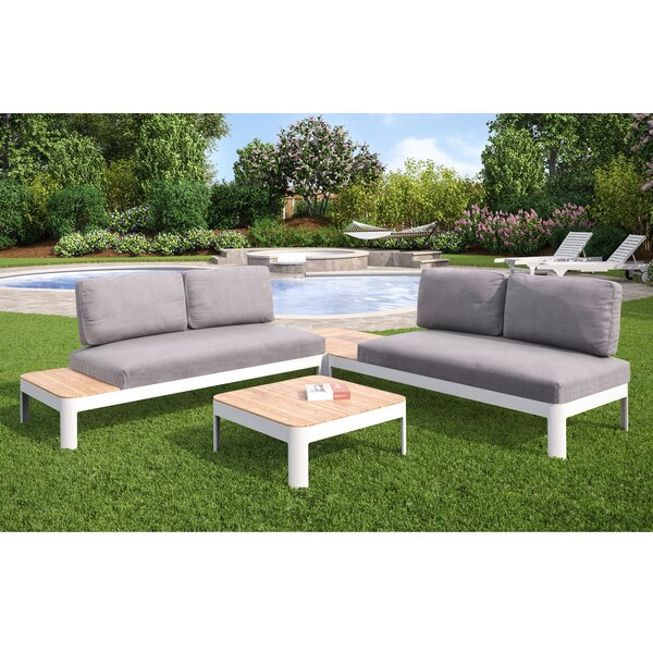 Lyke 4 Piece Teak Sectional Set with Cushions by Brayden Studio