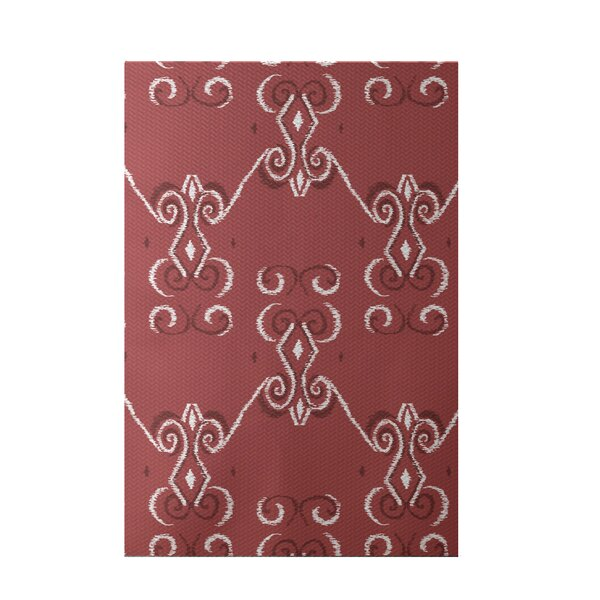 On the Line Print Red Indoor/Outdoor Area Rug by e by design