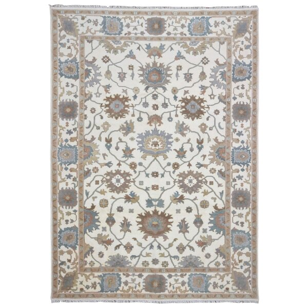 One-of-a-Kind Crane Oushak Hand-Woven Wool Beige/Blue Area Rug by Isabelline