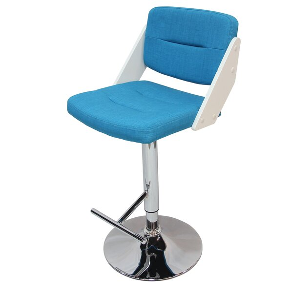 Cassette Adjustable Height Swivel Bar Stool by Ebern Designs