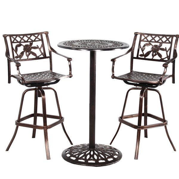 Thorpe Grace Cast Metal 3 Piece Bar Height Dining Set by Fleur De Lis Living