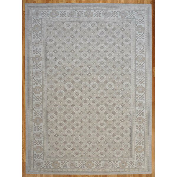 One-of-a-Kind Hand-Knotted 2010s Gray 12' x 18' Wool Area Rug