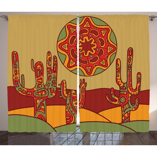 Saint-Philippo Cactus Graphic Print and Text Semi-Sheer Rod Pocket Curtain Panels (Set of 2) by World Menagerie