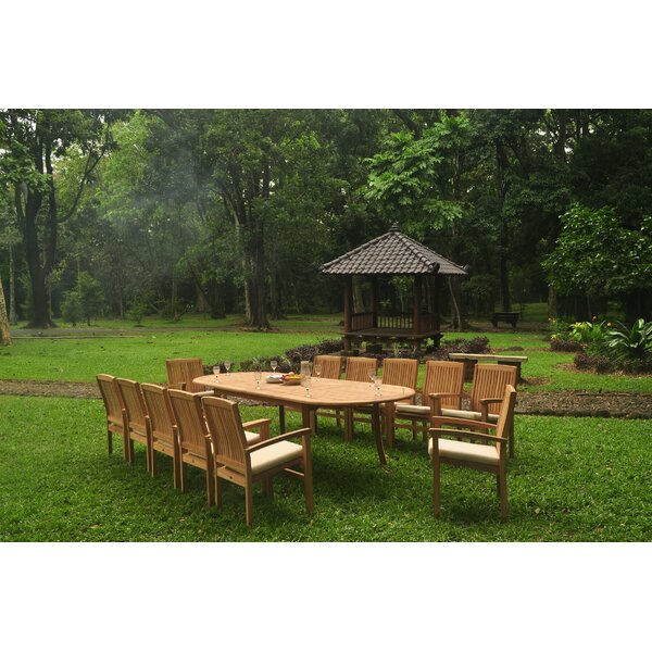Arjun 13 Piece Teak Dining Set by Rosecliff Heights