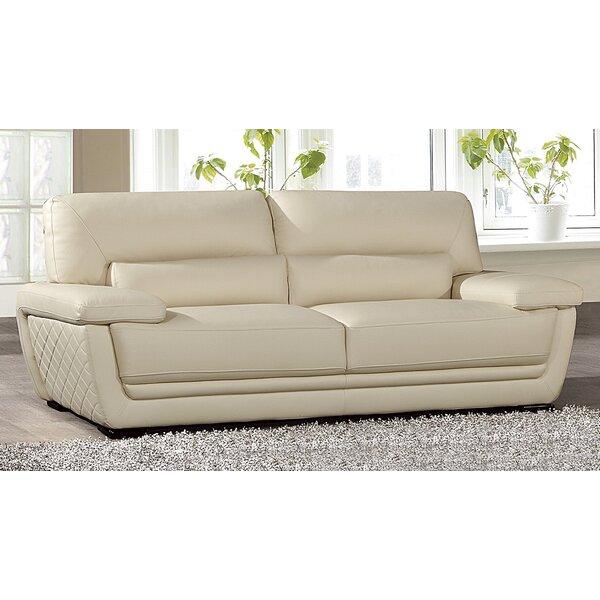 New Look Sandnes Leather Sofa by Latitude Run by Latitude Run