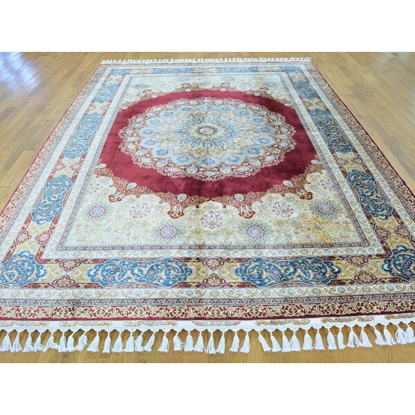 One-of-a-Kind Benally Hand-Knotted Red Silk Area Rug by Isabelline