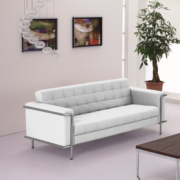Discover Luxurious Myron Contemporary Leather Sofa Shopping Special