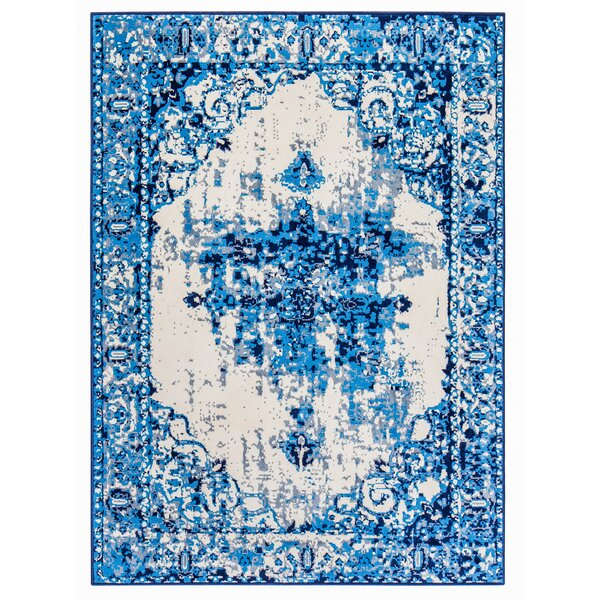 Loch Lomond Overdyed Distressed Blue/Cream Area Rug by Bungalow Rose