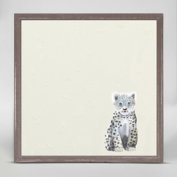 Baby Snow Leopard by Cathy Walters Mini Canvas Framed Art by Oopsy Daisy