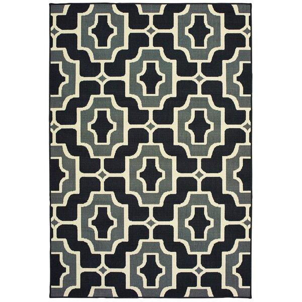 Koffler Geometric Tile Black/Gray Indoor/Outdoor Area Rug by Mercer41