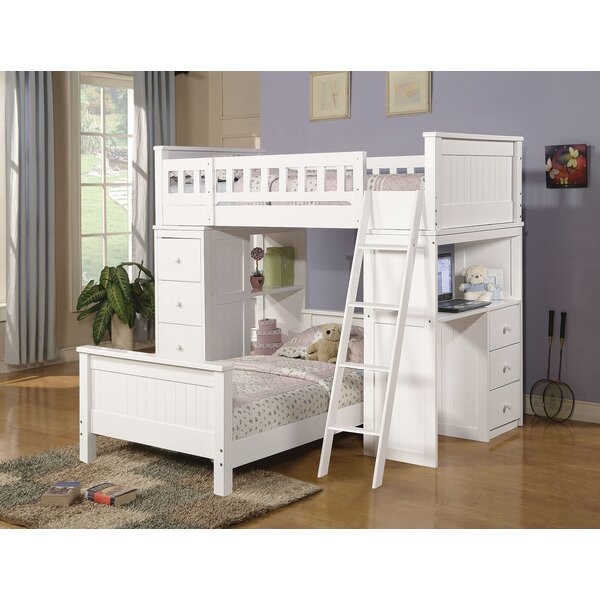 Otha Twin L-Shaped Bunk Bed with Drawers and Shelves by Harriet Bee
