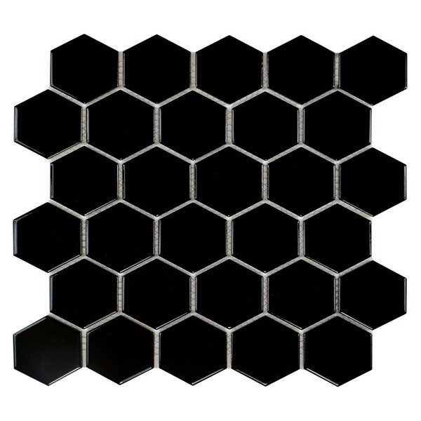 Barcelona Hexagon Glossy 2 x 2.32 Porcelain Mosaic Tile in Black by The Mosaic Factory