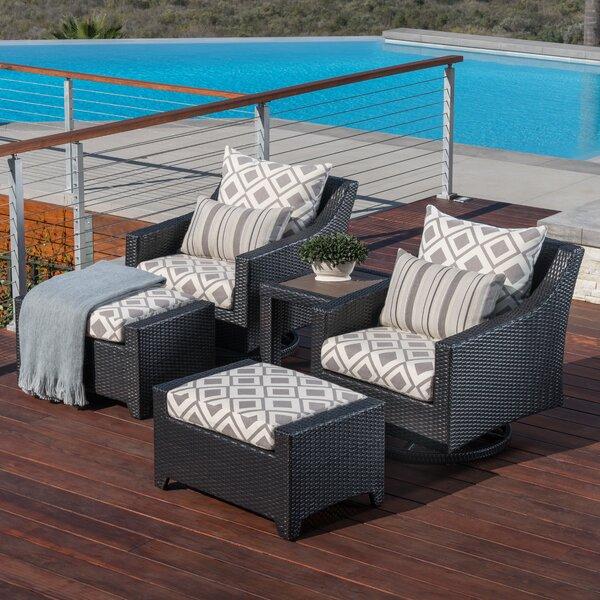 Northridge 5 Piece Rattan Sunbrella Conversation Set with Cushions by Three Posts