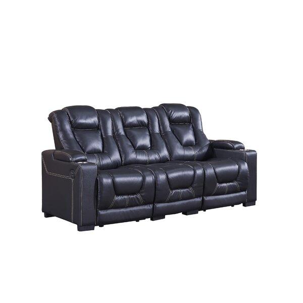 Falun Genuine Leather Reclining 88'' Pillow Top Arm Sofa By Latitude Run