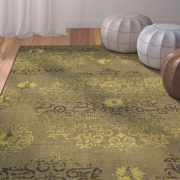 Port Laguerre Black/Green Area Rug by Bungalow Rose