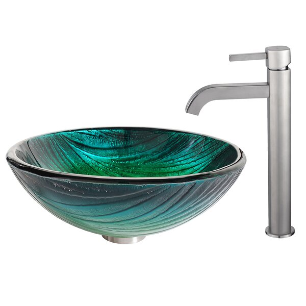 Nei Glass Circular Vessel Bathroom Sink with Faucet by Kraus