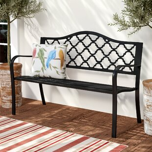 Stripling Outdoor Lattice Patio Cast Iron Garden Bench
