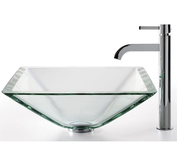 Square Glass Square Vessel Bathroom Sink with Faucet