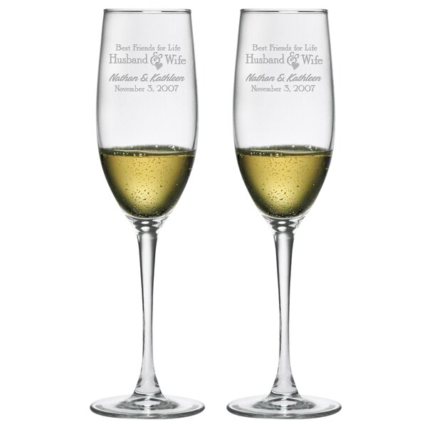 Best Friends for Life Champagne Flute (Set of 2) by Susquehanna Glass