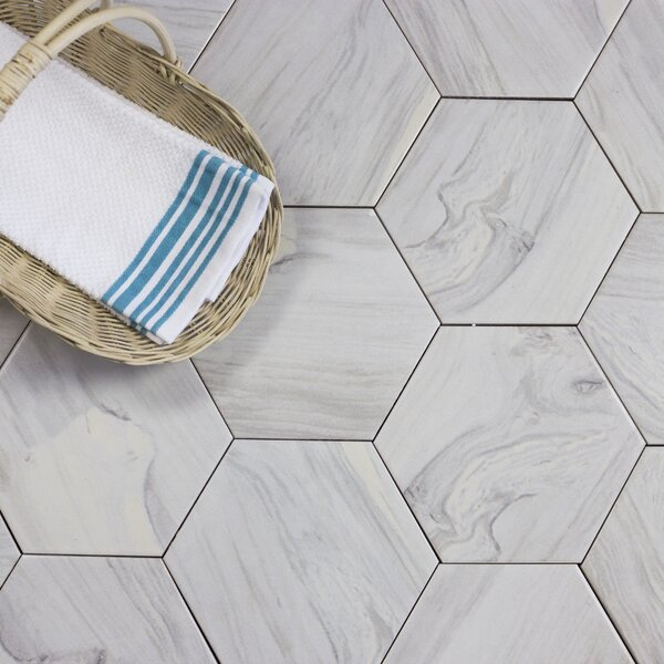 Artisan Wood Hexagon 8 x 8 Ceramic Wood Look Tile in White by Abolos