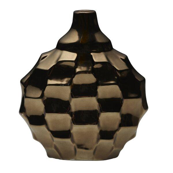 Uppingham Metallic Bronze Ceramic Rippled Vase by Wrought Studio