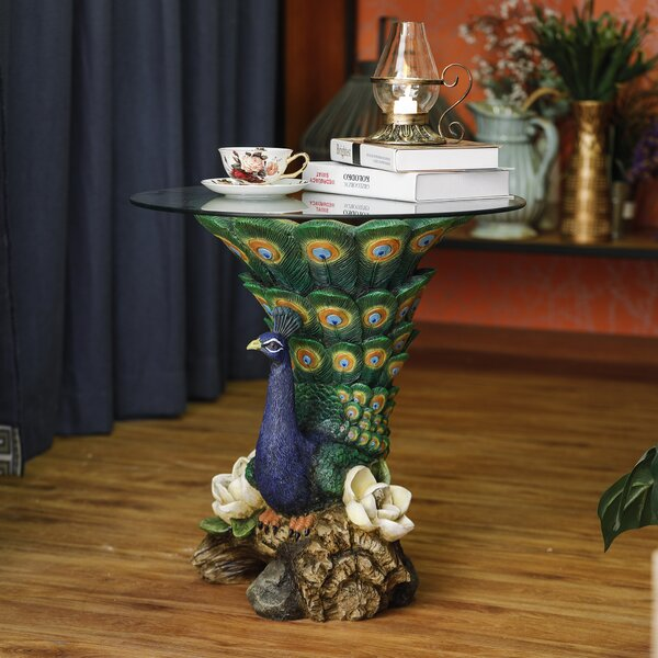 Rich Peacock End Table by World Menagerie