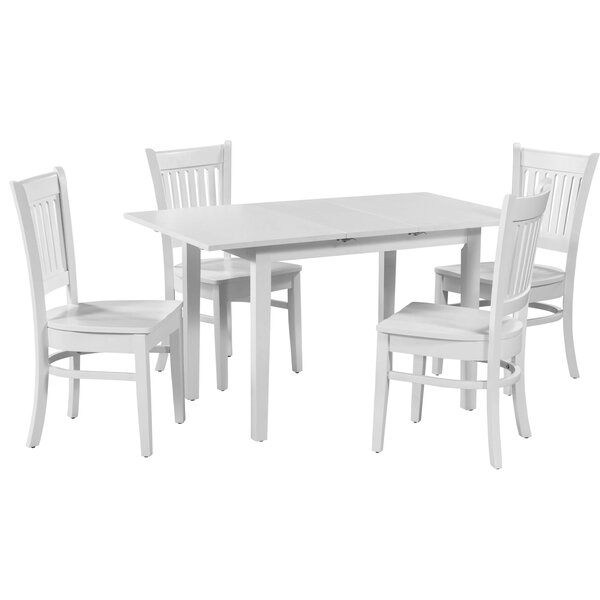 #2 Spiller 5 Piece Extendable Solid Wood Dining Set By Winston Porter 2019 Sale