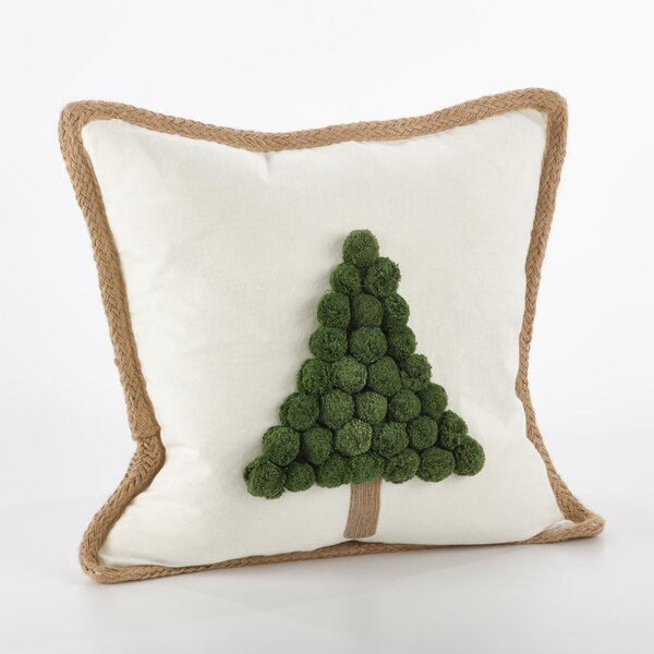 Ricamato Xmas Tree Cotton Throw Pillow by Saro