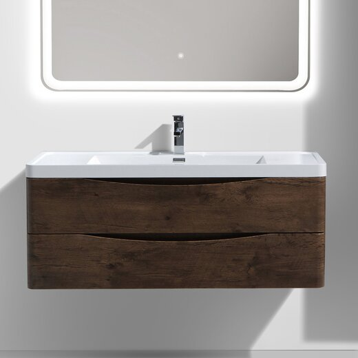 Ruelas 48 Wall-Mounted Single Bathroom Vanity Set by Wrought Studio